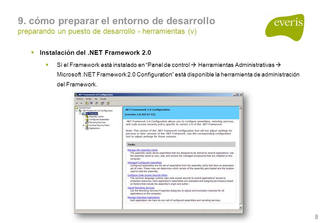 8 9. cómo preparar el entorno de desarrollo preparando un puesto de desarrollo - herramientas (v) Instalación del.NET Framework 2.0 Si el Framework es