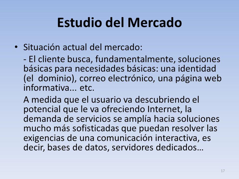 Estudio del Mercado Situación actual del mercado: - El cliente busca, fundamentalmente, soluciones básicas para necesidades básicas: una identidad (el