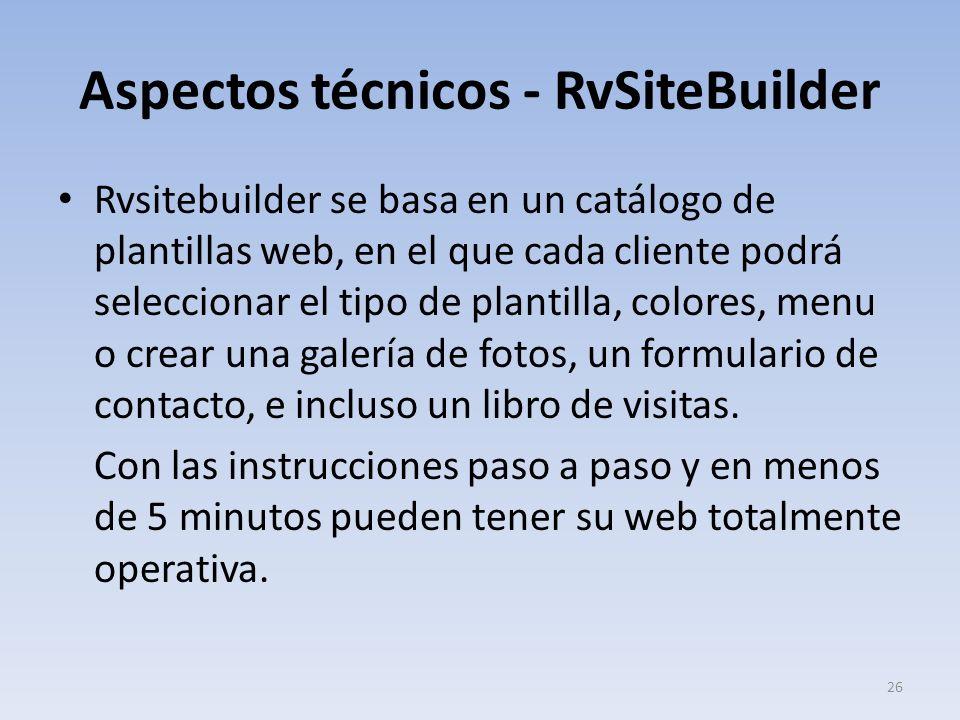 Aspectos técnicos - RvSiteBuilder Rvsitebuilder se basa en un catálogo de plantillas web, en el que cada cliente podrá seleccionar el tipo de plantill