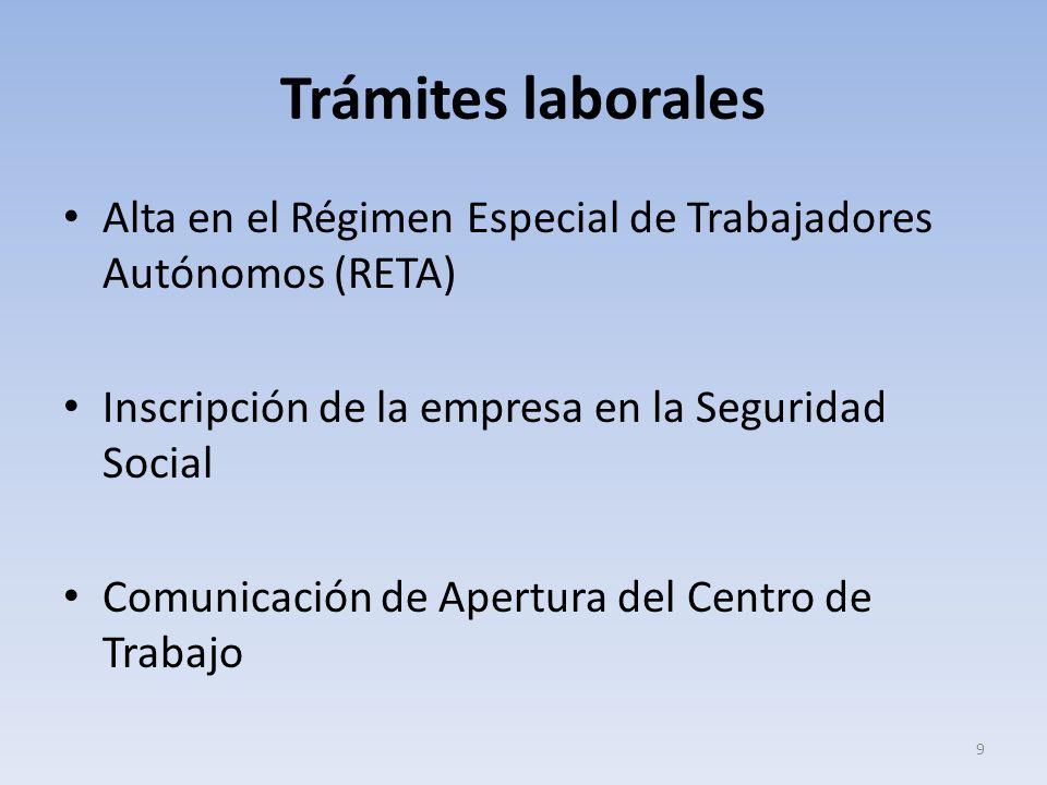 Trámites laborales Alta en el Régimen Especial de Trabajadores Autónomos (RETA) Inscripción de la empresa en la Seguridad Social Comunicación de Apert