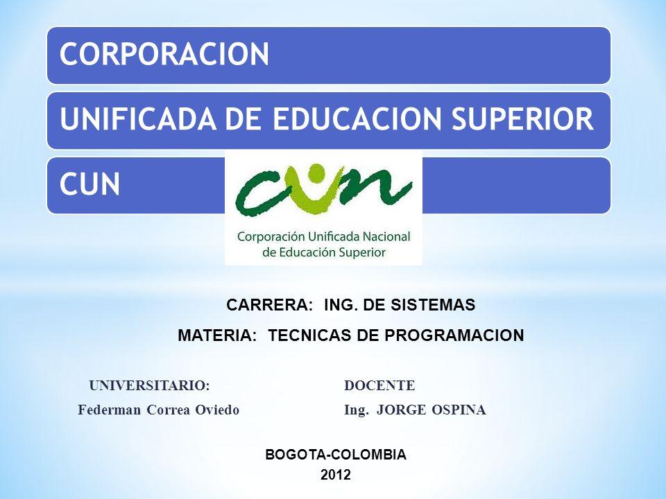 UNIVERSITARIO: DOCENTE Federman Correa OviedoIng. JORGE OSPINA BOGOTA-COLOMBIA 2012 CARRERA: ING. DE SISTEMAS MATERIA: TECNICAS DE PROGRAMACION CORPOR