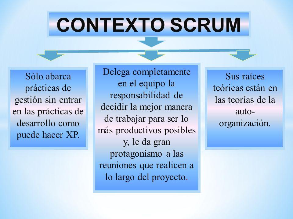 CONTEXTO SCRUM Sólo abarca prácticas de gestión sin entrar en las prácticas de desarrollo como puede hacer XP. Delega completamente en el equipo la re