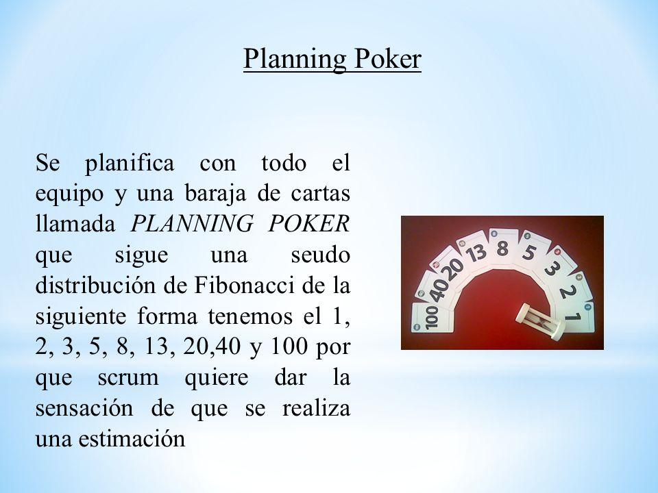Se planifica con todo el equipo y una baraja de cartas llamada PLANNING POKER que sigue una seudo distribución de Fibonacci de la siguiente forma tene