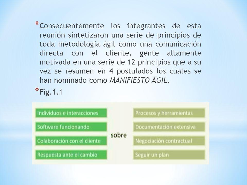 * Consecuentemente los integrantes de esta reunión sintetizaron una serie de principios de toda metodología ágil como una comunicación directa con el
