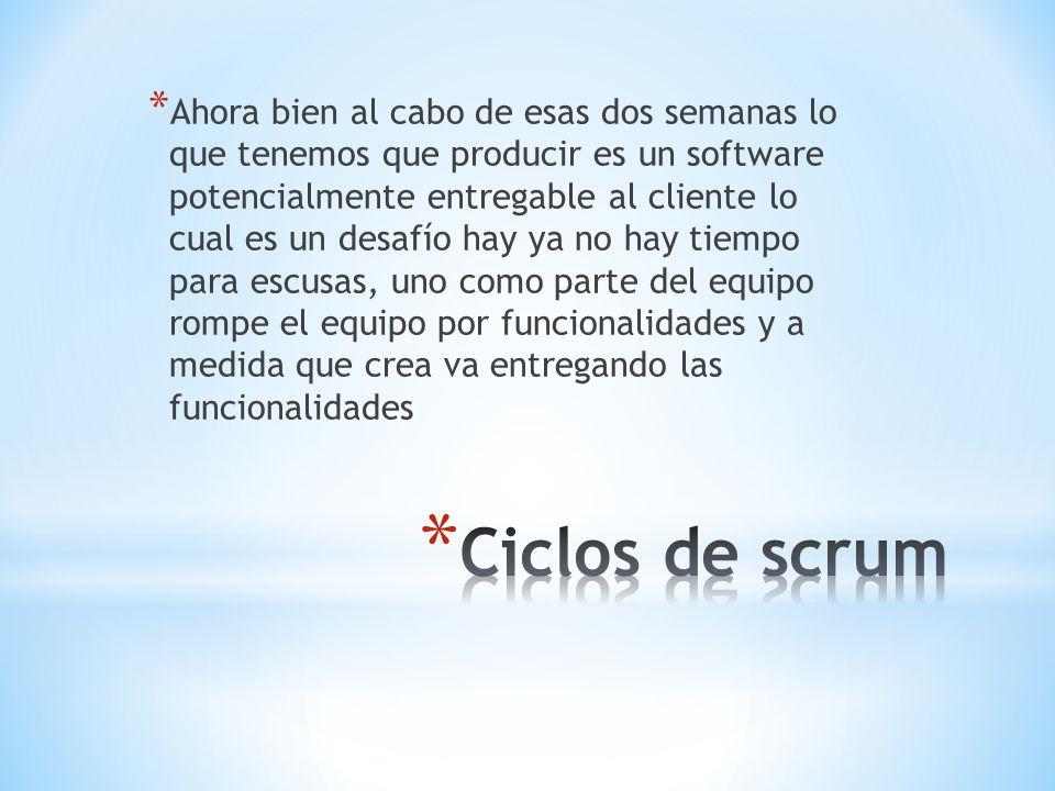 * Ahora bien al cabo de esas dos semanas lo que tenemos que producir es un software potencialmente entregable al cliente lo cual es un desafío hay ya