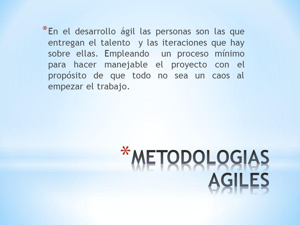 * En el desarrollo ágil las personas son las que entregan el talento y las iteraciones que hay sobre ellas. Empleando un proceso mínimo para hacer man