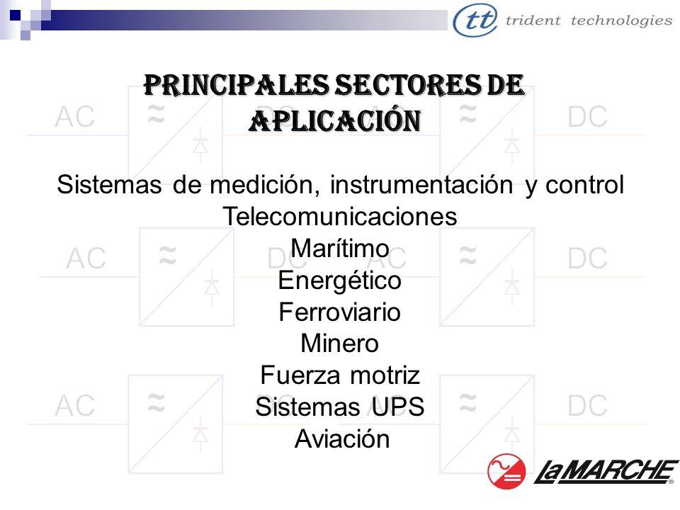 PRINCIPALES SECTORES DE Aplicación Sistemas de medición, instrumentación y control Telecomunicaciones Marítimo Energético Ferroviario Minero Fuerza mo