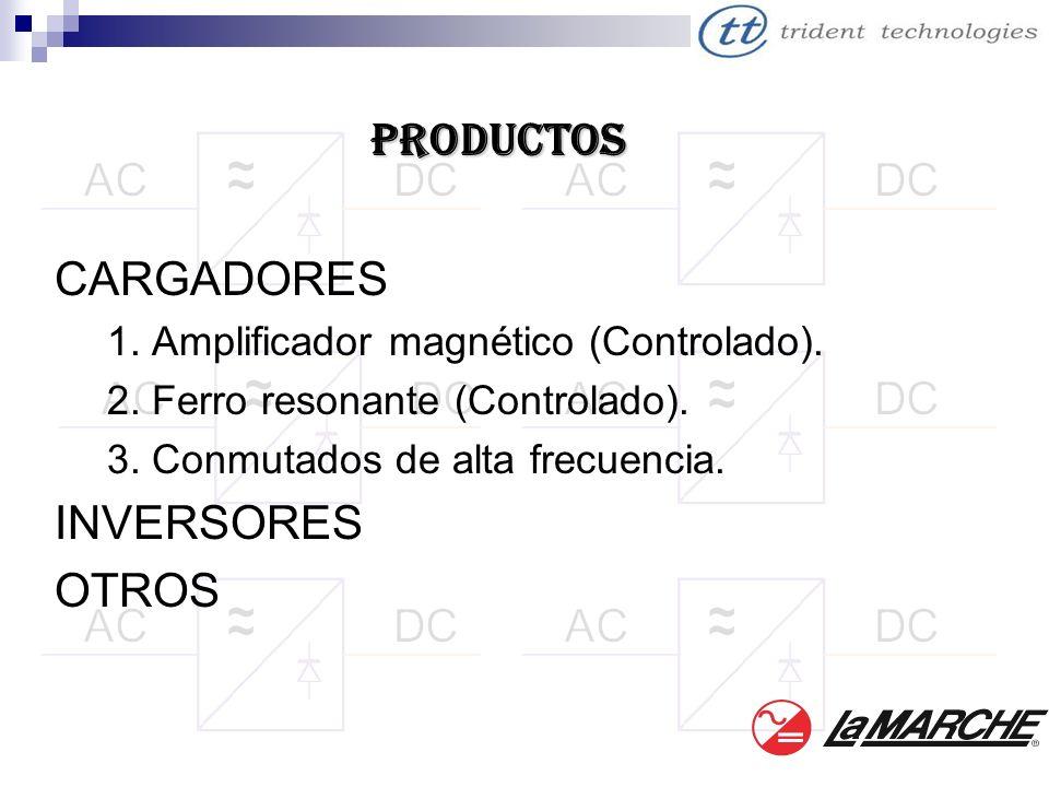 CARGADORES 1. Amplificador magnético (Controlado). 2. Ferro resonante (Controlado). 3. Conmutados de alta frecuencia. INVERSORES OTROS PRODUCTOS
