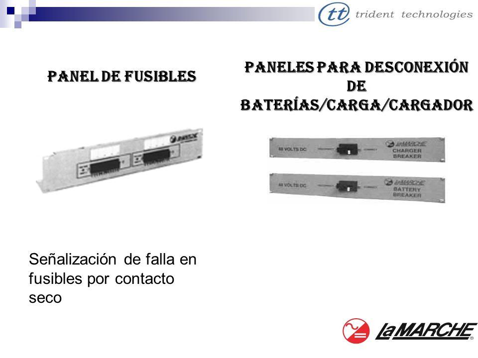 Panel de fusibles Señalización de falla en fusibles por contacto seco Paneles para desconexión de Baterías/Carga/Cargador