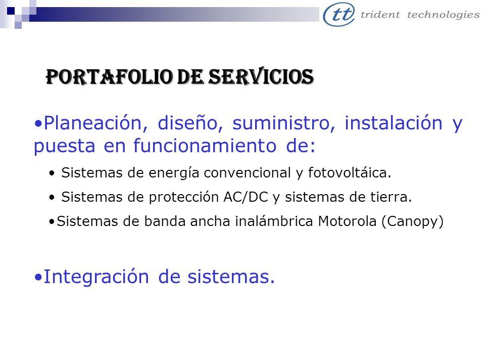 PORTAFOLIO DE SERVICIOS Planeación, diseño, suministro, instalación y puesta en funcionamiento de: Sistemas de energía convencional y fotovoltáica. Si