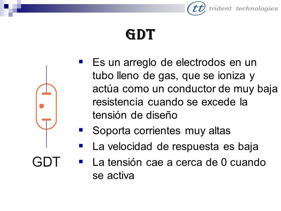 gdt Es un arreglo de electrodos en un tubo lleno de gas, que se ioniza y actúa como un conductor de muy baja resistencia cuando se excede la tensión d
