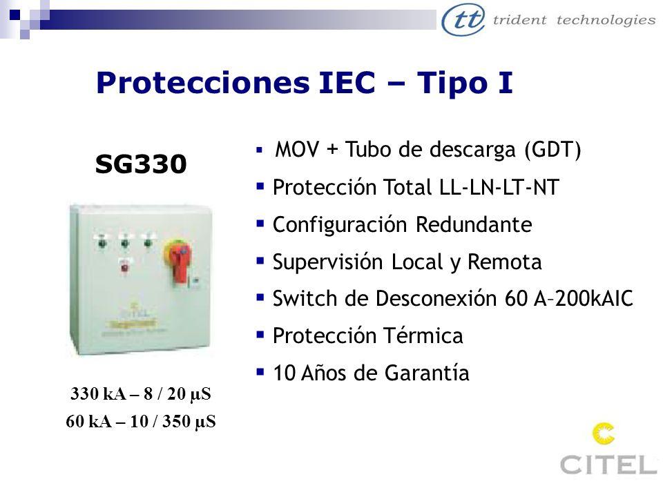 Protecciones IEC – Tipo I SG330 330 kA – 8 / 20 µS 60 kA – 10 / 350 µS MOV + Tubo de descarga (GDT) Protección Total LL-LN-LT-NT Configuración Redunda
