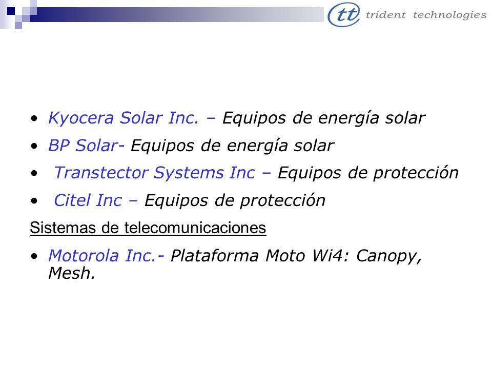 Kyocera Solar Inc. – Equipos de energía solar BP Solar- Equipos de energía solar Transtector Systems Inc – Equipos de protección Citel Inc – Equipos d