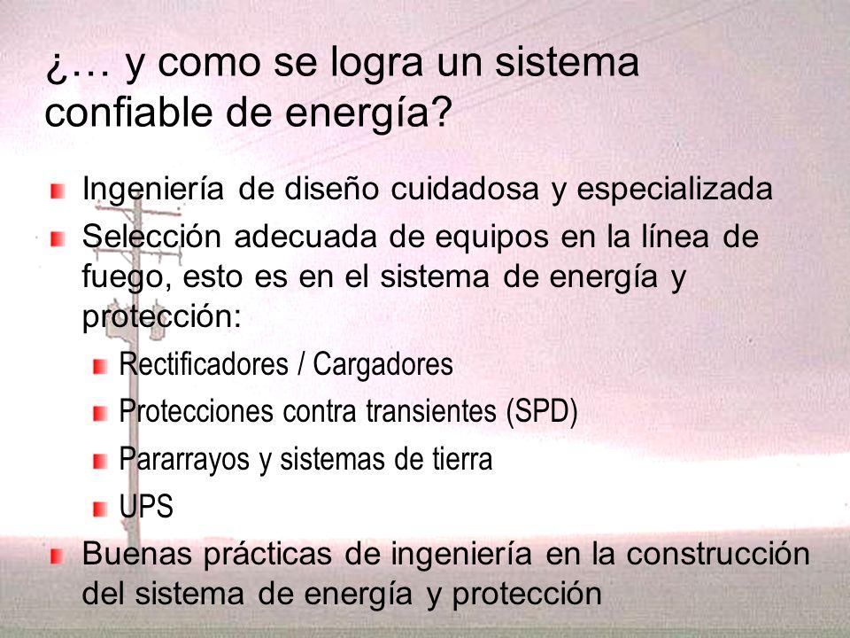 ¿… y como se logra un sistema confiable de energía? Ingeniería de diseño cuidadosa y especializada Selección adecuada de equipos en la línea de fuego,