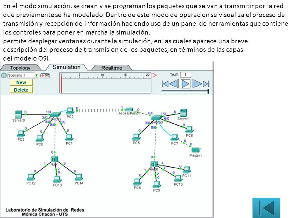 En el modo simulación, se crean y se programan los paquetes que se van a transmitir por la red que previamente se ha modelado. Dentro de este modo de