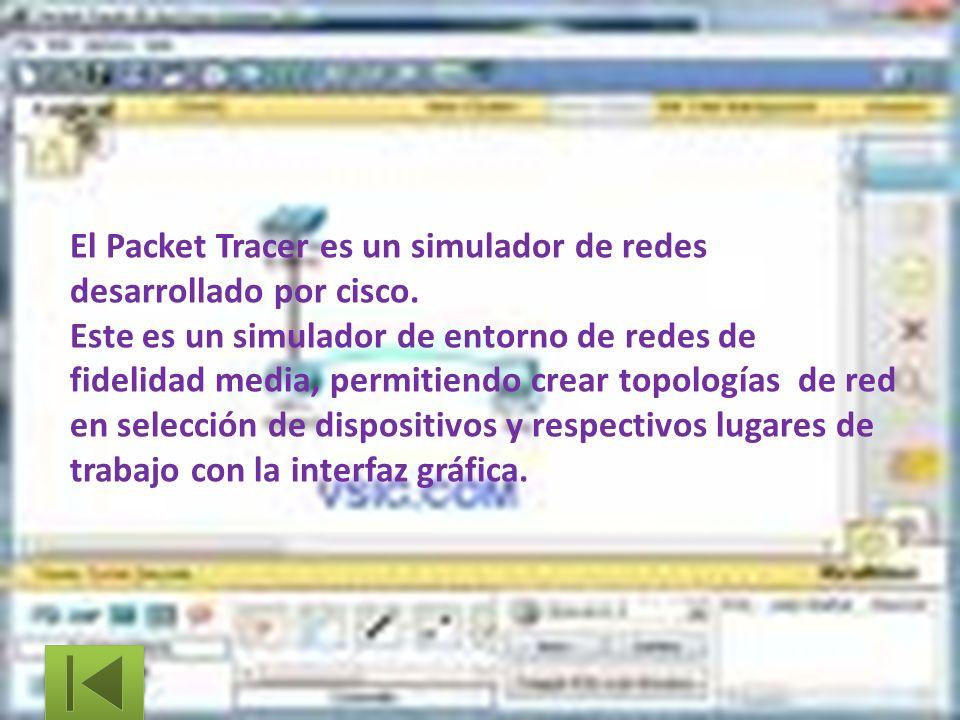 El Packet Tracer es un simulador de redes desarrollado por cisco. Este es un simulador de entorno de redes de fidelidad media, permitiendo crear topol