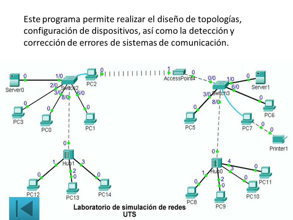 Este programa permite realizar el diseño de topologías, configuración de dispositivos, así como la detección y corrección de errores de sistemas de co