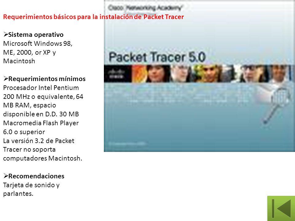 Requerimientos básicos para la instalación de Packet Tracer Sistema operativo Microsoft Windows 98, ME, 2000, or XP y Macintosh Requerimientos mínimos