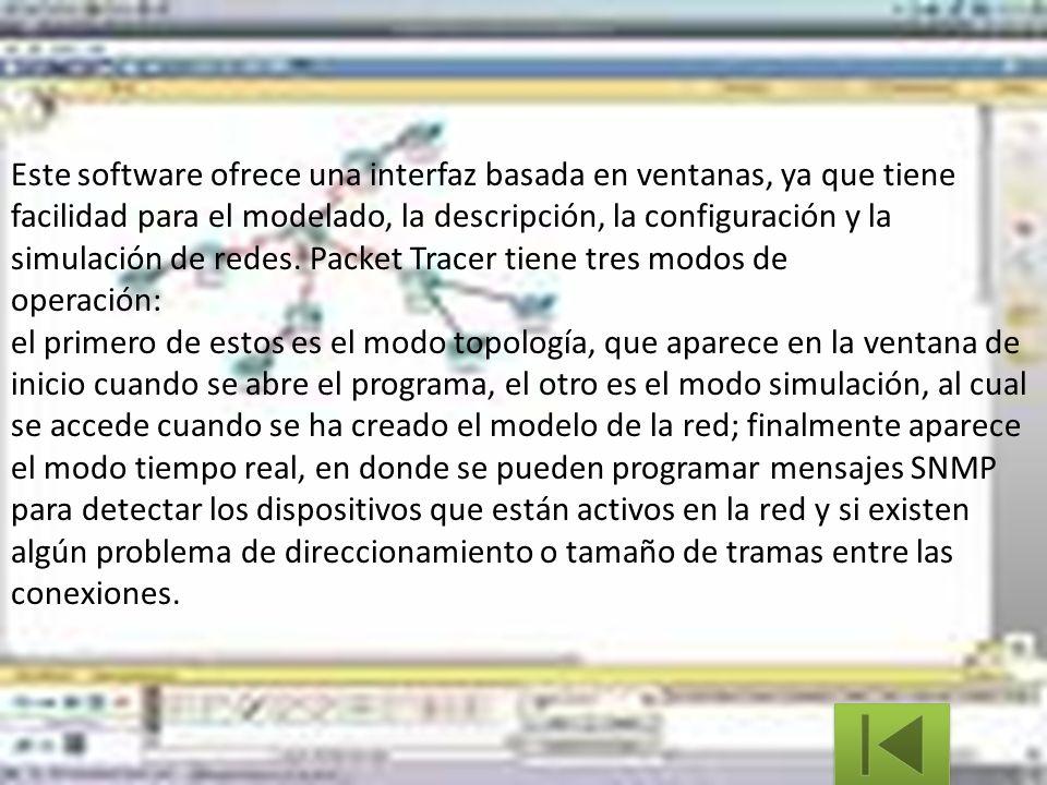 Este software ofrece una interfaz basada en ventanas, ya que tiene facilidad para el modelado, la descripción, la configuración y la simulación de red
