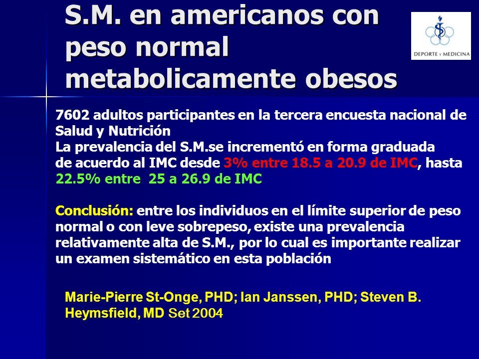 S.M. en americanos con peso normal metabolicamente obesos Marie-Pierre St-Onge, PHD; Ian Janssen, PHD; Steven B. Heymsfield, MD Set 2004 7602 adultos
