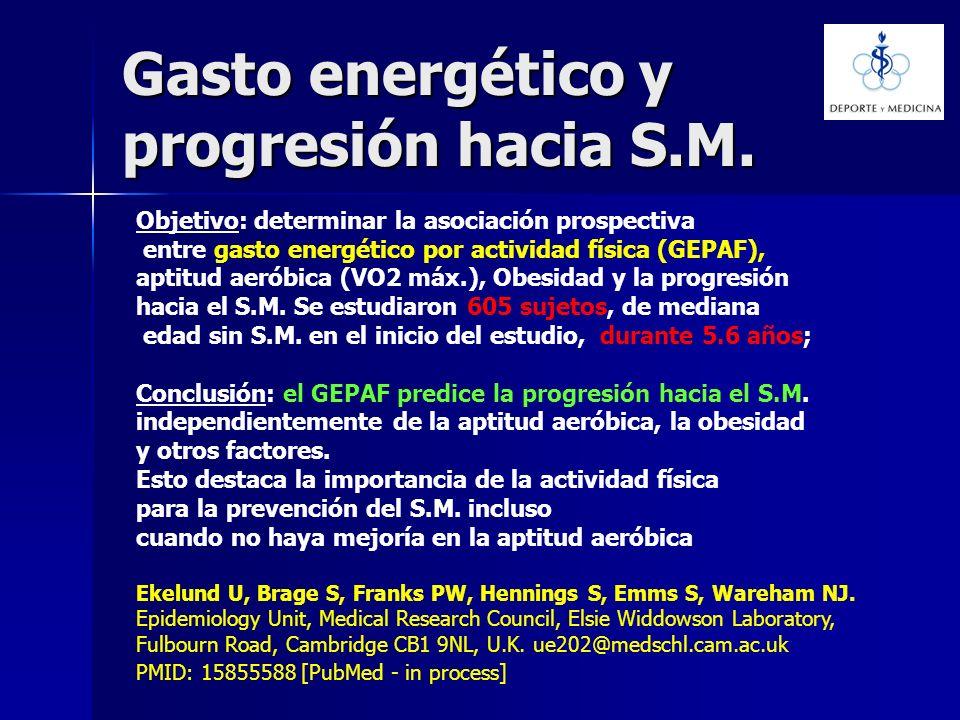 Gasto energético y progresión hacia S.M. Objetivo: determinar la asociación prospectiva entre gasto energético por actividad física (GEPAF), aptitud a