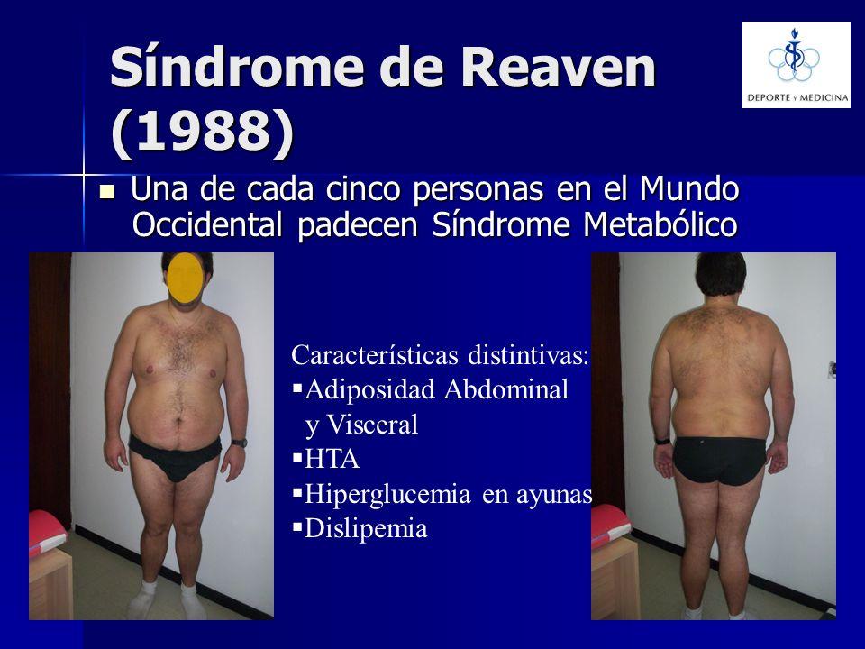 Síndrome de Reaven (1988) Una de cada cinco personas en el Mundo Occidental padecen Síndrome Metabólico Una de cada cinco personas en el Mundo Occiden