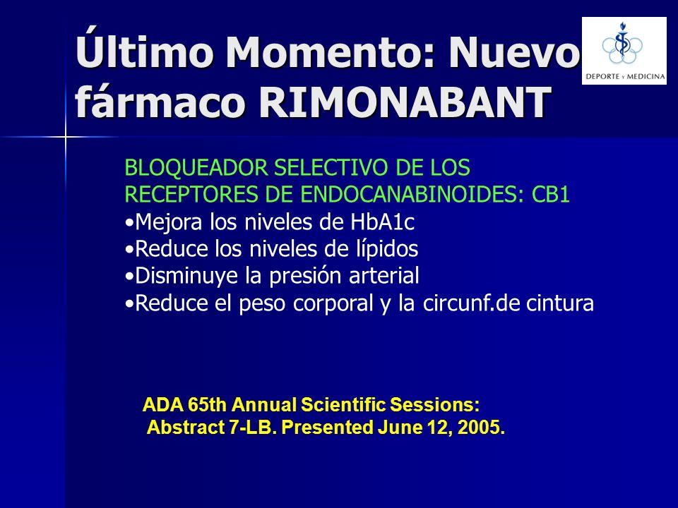 Último Momento: Nuevo fármaco RIMONABANT BLOQUEADOR SELECTIVO DE LOS RECEPTORES DE ENDOCANABINOIDES: CB1 Mejora los niveles de HbA1c Reduce los nivele