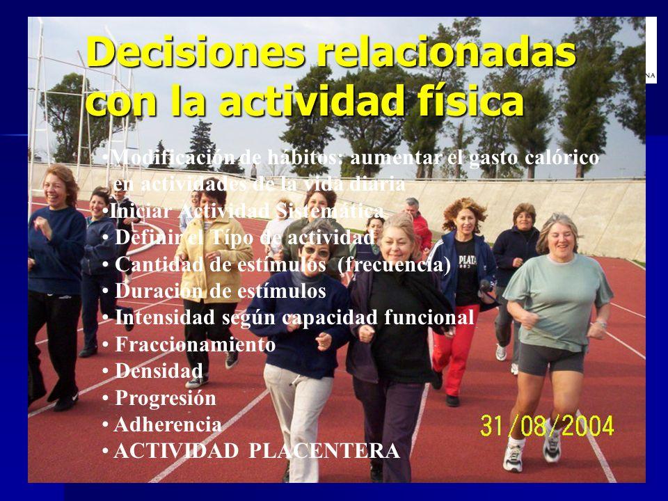 Decisiones relacionadas con la actividad física Modificación de hábitos: aumentar el gasto calórico en actividades de la vida diaria Iniciar Actividad