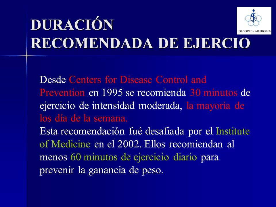 Desde Centers for Disease Control and Prevention en 1995 se recomienda 30 minutos de ejercicio de intensidad moderada, la mayoría de los día de la sem
