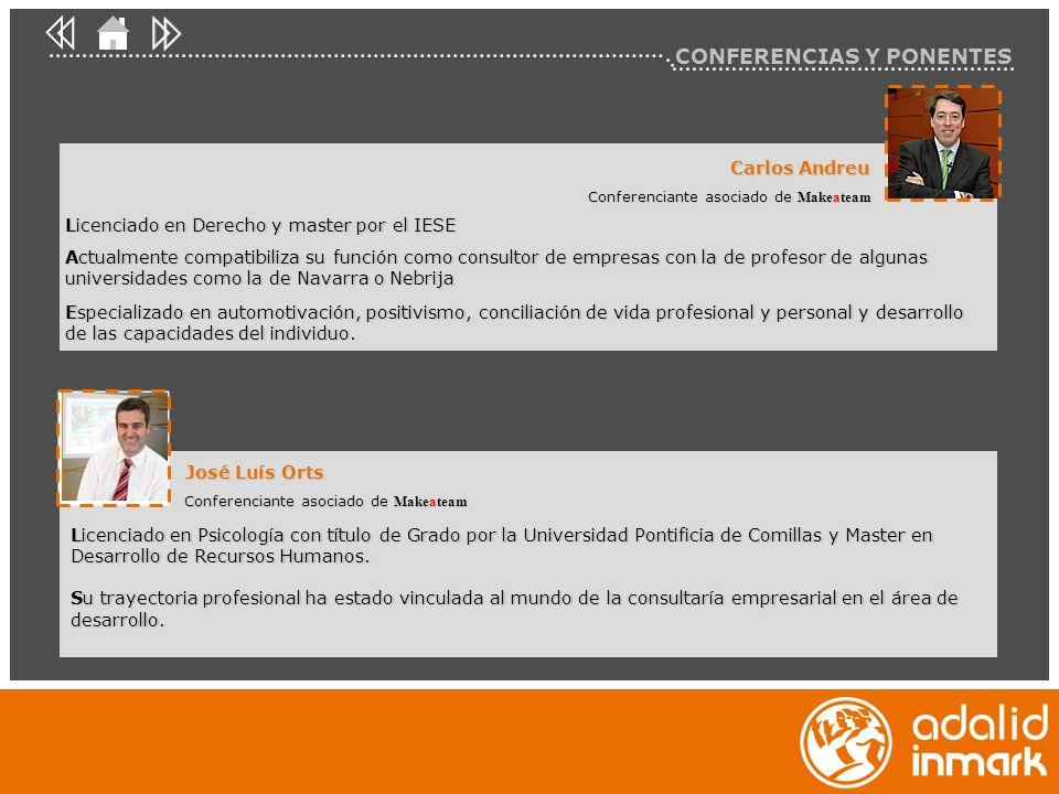 Carlos Andreu Conferenciante asociado de Makeateam Licenciado en Derecho y master por el IESE Actualmente compatibiliza su función como consultor de e