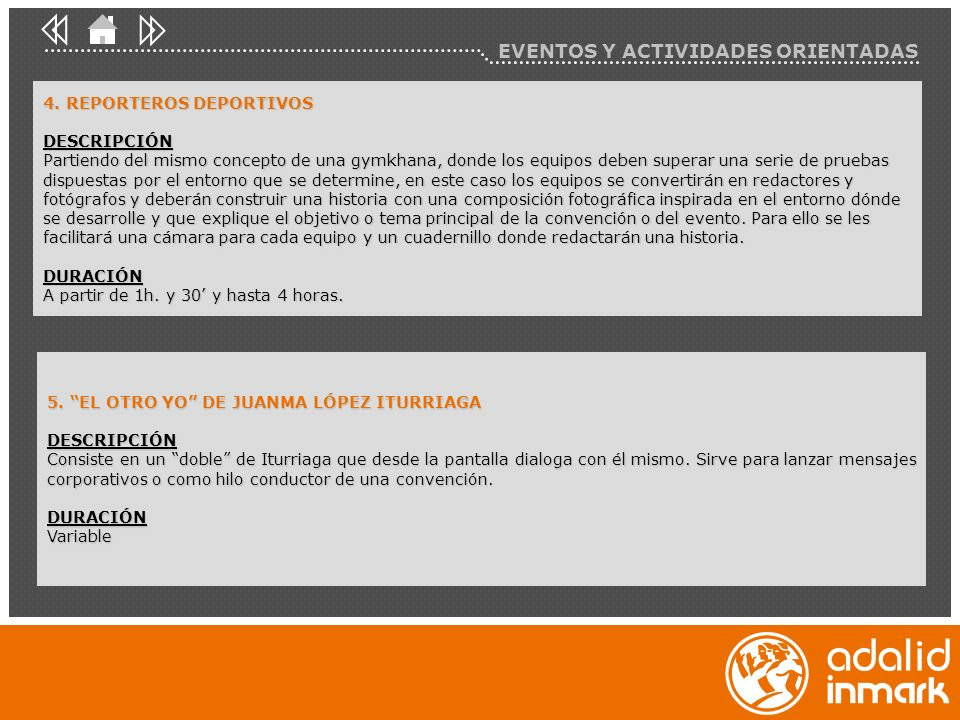 EVENTOS Y ACTIVIDADES ORIENTADAS 4.