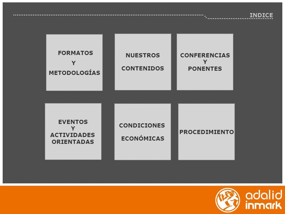 INDICE FORMATOS Y METODOLOGÍAS NUESTROS CONTENIDOS EVENTOS Y ACTIVIDADES ORIENTADAS CONFERENCIAS Y PONENTES CONDICIONES ECONÓMICAS PROCEDIMIENTO