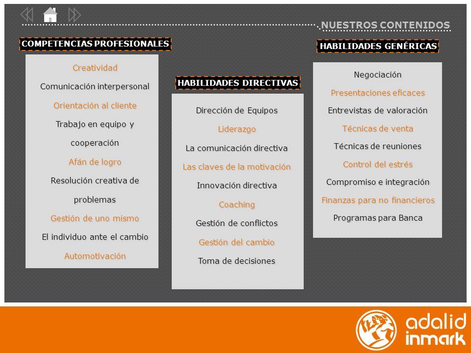 NUESTROS CONTENIDOS HABILIDADES DIRECTIVASCOMPETENCIAS PROFESIONALESHABILIDADES GENÉRICAS Dirección de Equipos Liderazgo La comunicación directiva Las