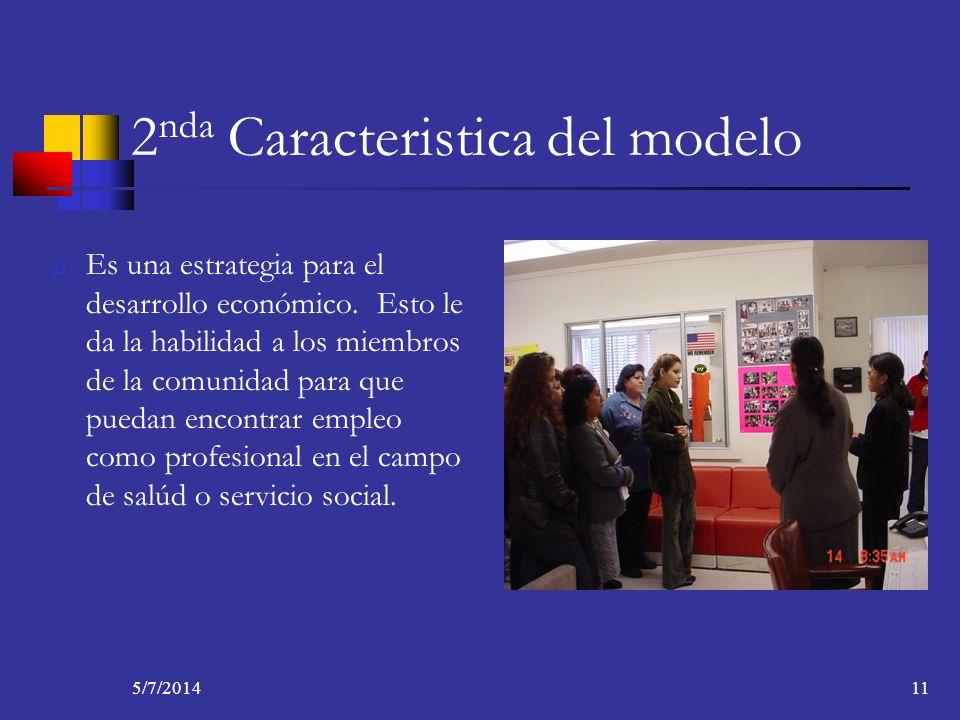 5/7/201411 2 nda Caracteristica del modelo Es una estrategia para el desarrollo económico. Esto le da la habilidad a los miembros de la comunidad para