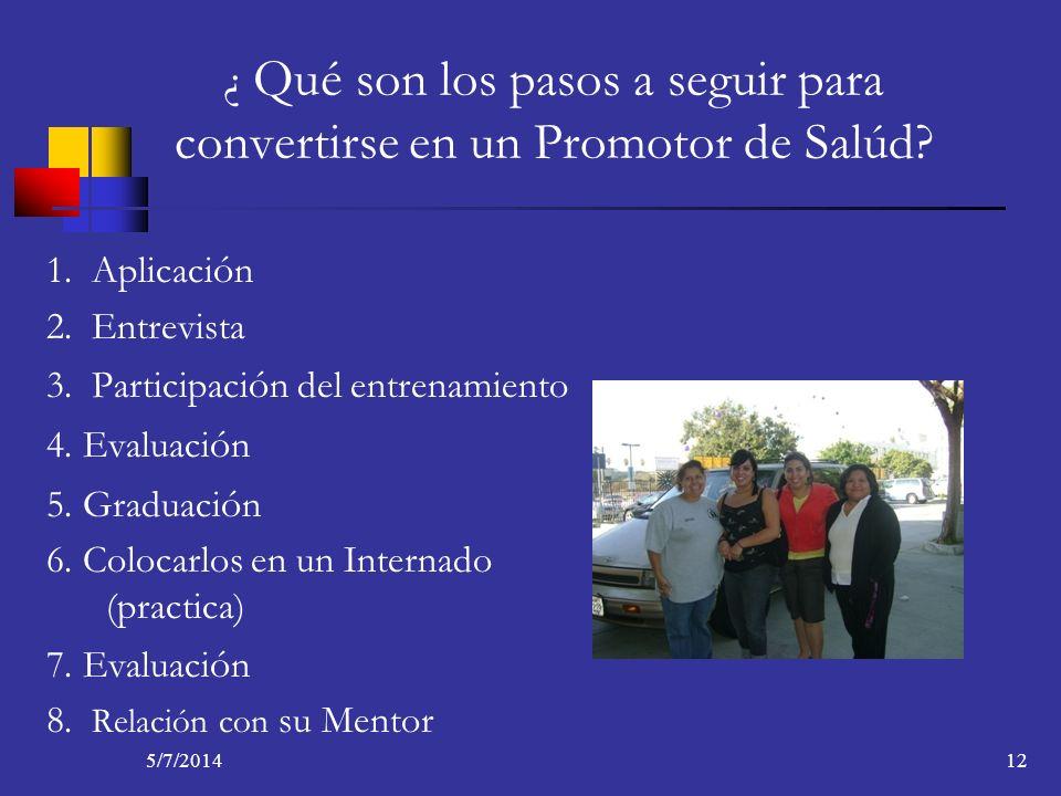 5/7/201412 ¿ Qué son los pasos a seguir para convertirse en un Promotor de Salúd? 1. Aplicaci ó n 2. Entrevista 3. Participaci ó n del entrenamiento 4