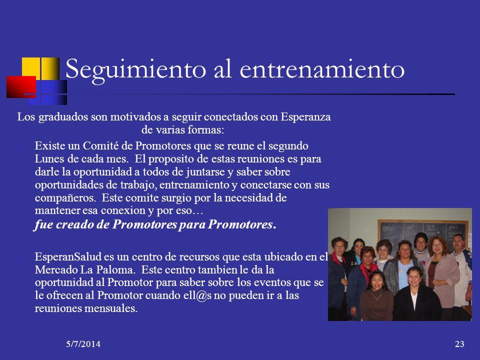 5/7/201423 Seguimiento al entrenamiento Los graduados son motivados a seguir conectados con Esperanza de varias formas: 1. Existe un Comité de Promoto