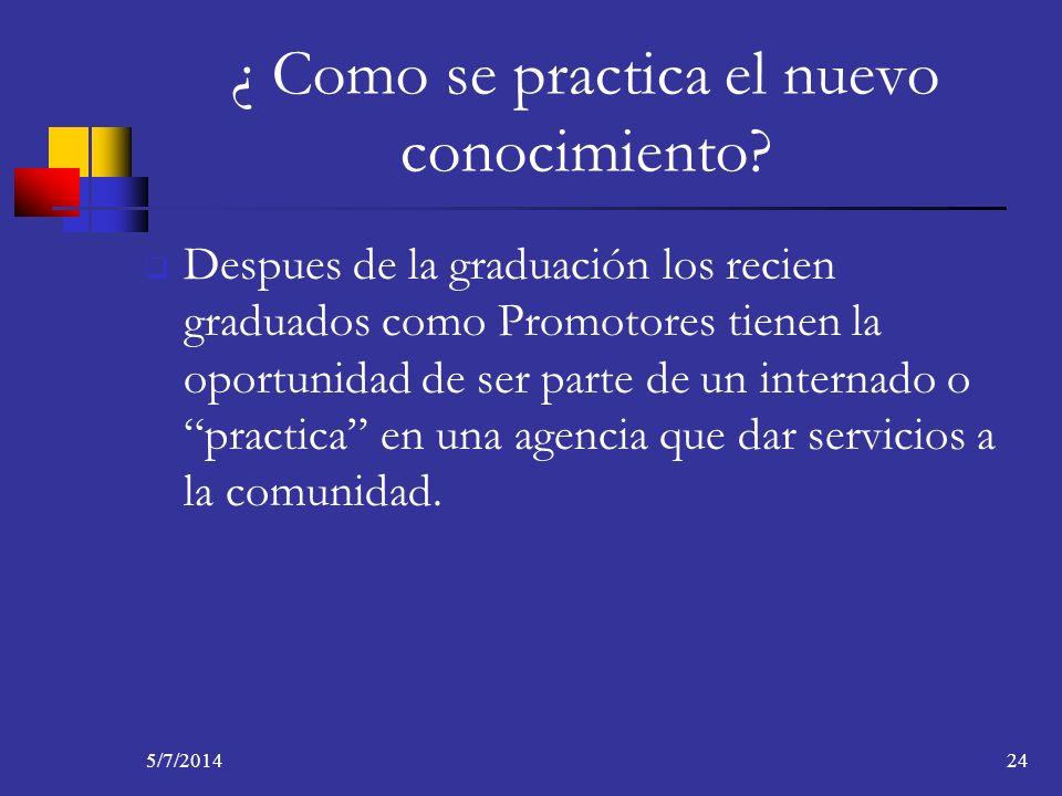 5/7/201424 ¿ Como se practica el nuevo conocimiento? Despues de la graduación los recien graduados como Promotores tienen la oportunidad de ser parte