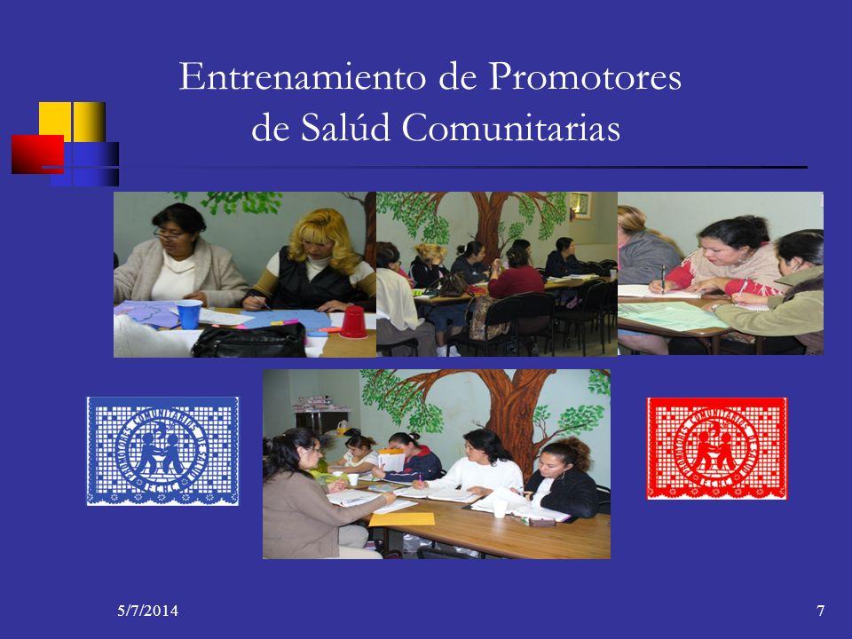 5/7/20147 Entrenamiento de Promotores de Salúd Comunitarias