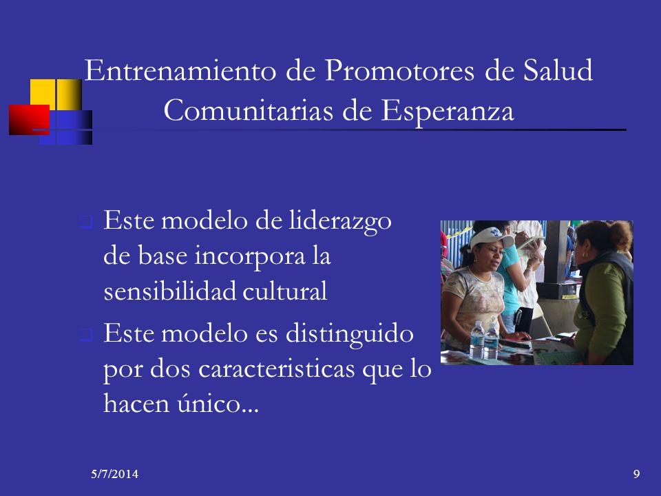 5/7/20149 Entrenamiento de Promotores de Salud Comunitarias de Esperanza Este modelo de liderazgo de base incorpora la sensibilidad cultural Este mode