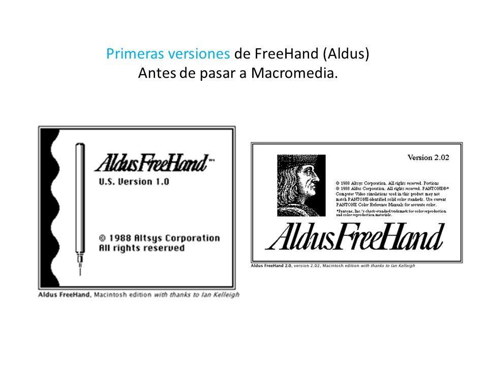 Primeras versiones de FreeHand (Aldus) Antes de pasar a Macromedia.