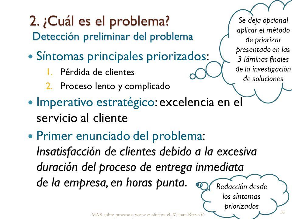 2. ¿Cuál es el problema? Detección preliminar del problema Síntomas principales priorizados: 1.Pérdida de clientes 2.Proceso lento y complicado Impera