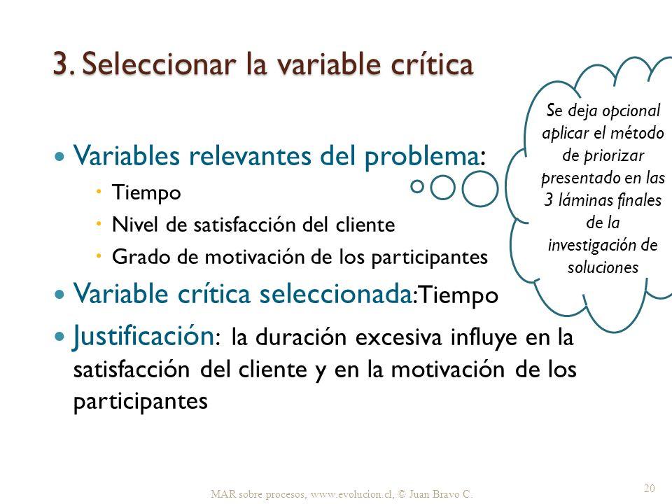 3. Seleccionar la variable crítica Variables relevantes del problema: Tiempo Nivel de satisfacción del cliente Grado de motivación de los participante