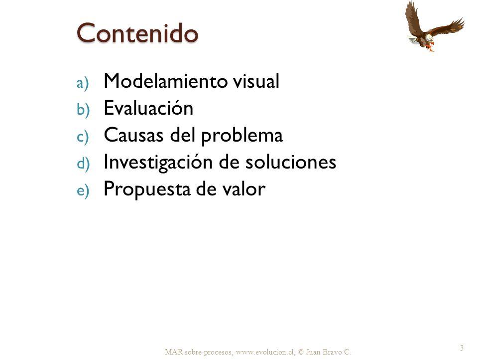 Contenido a) Modelamiento visual b) Evaluación c) Causas del problema d) Investigación de soluciones e) Propuesta de valor MAR sobre procesos, www.evo
