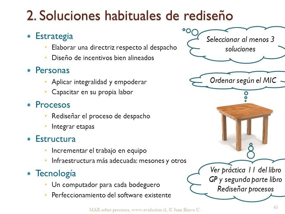 2. Soluciones habituales de rediseño MAR sobre procesos, www.evolucion.cl, © Juan Bravo C. 40 Estrategia Elaborar una directriz respecto al despacho D