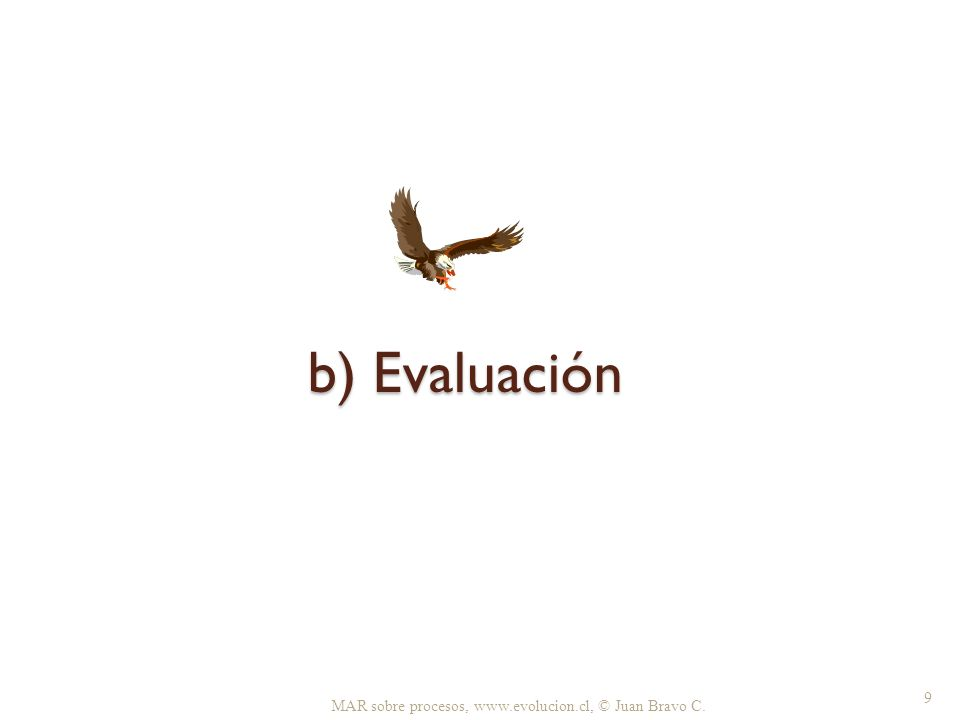 b) Evaluación 1.Situación actual 2. ¿Cuál es el problema.