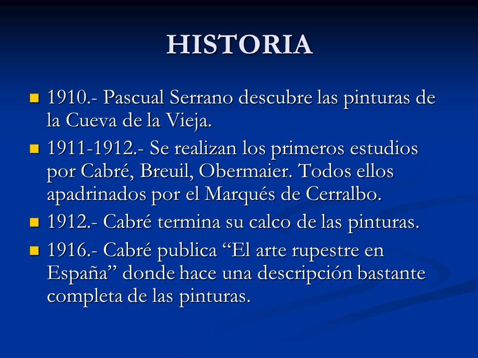 HISTORIA 1910.- Pascual Serrano descubre las pinturas de la Cueva de la Vieja. 1910.- Pascual Serrano descubre las pinturas de la Cueva de la Vieja. 1