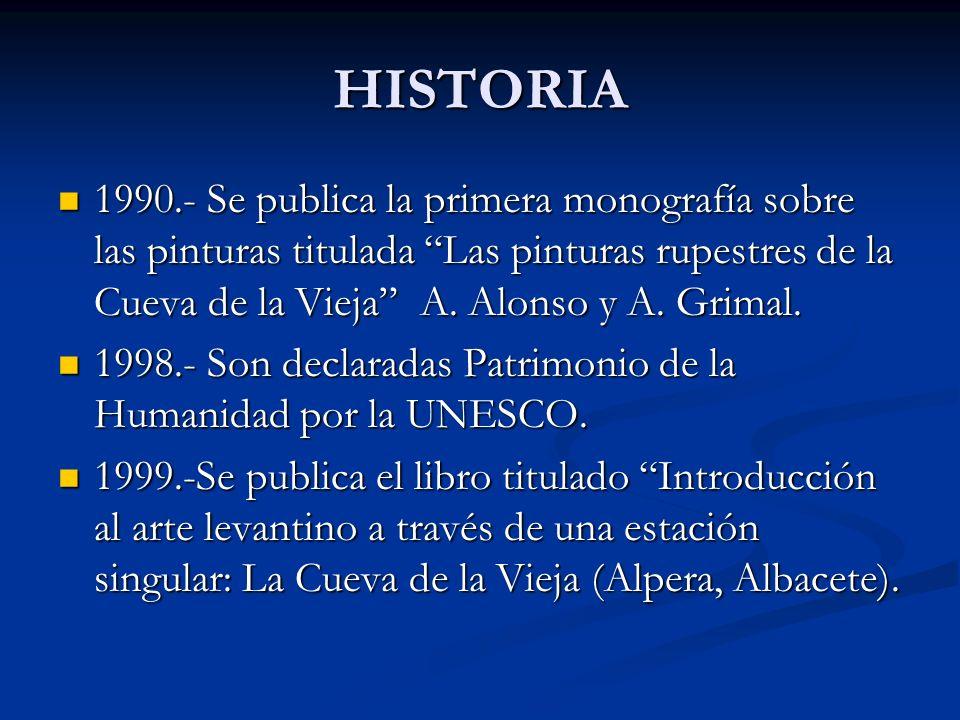 1990.- Se publica la primera monografía sobre las pinturas titulada Las pinturas rupestres de la Cueva de la Vieja A. Alonso y A. Grimal. 1990.- Se pu