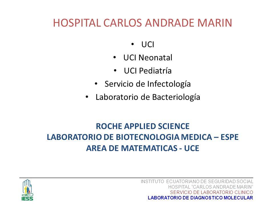 HOSPITAL CARLOS ANDRADE MARIN UCI UCI Neonatal UCI Pediatría Servicio de Infectología Laboratorio de Bacteriología ___________________________________