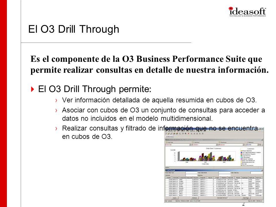 2 El O3 Drill Through El O3 Drill Through permite : Ver información detallada de aquella resumida en cubos de O3. Asociar con cubos de O3 un conjunto
