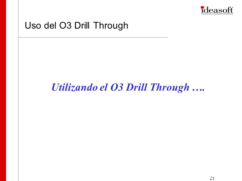 21 Uso del O3 Drill Through Utilizando el O3 Drill Through ….